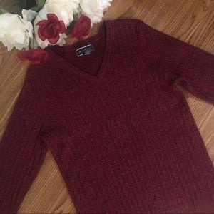 Karen Scott Sweater 3/4-Sleeves Red/Black Large
